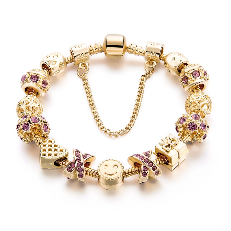 Best Gifit Charm Bracelet With Purple Austrian Rhinestone Fit Fashion <strong>Jewelry</strong>, DIY Women <strong>Jewelry</strong> Gold Bracelet