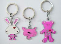 bling bling crystal rabbit and bear couple key chain