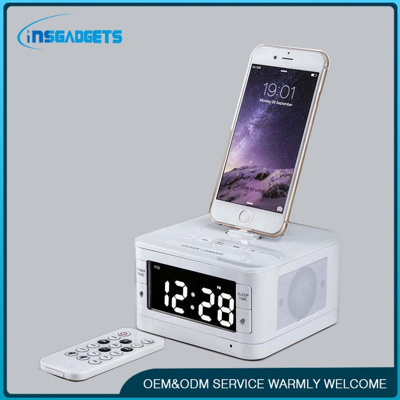 Clock with charging station h0td5 bluetooth docking station with speakers for sale
