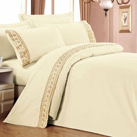 Polycotton modern design embroidered gold duvet cover