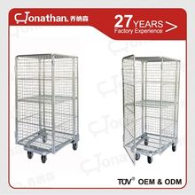 Logistics cage four wheels warehouse metal foldable roll cart