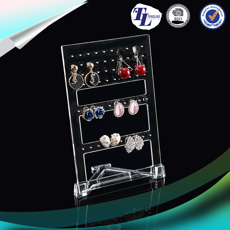 2016 New Design 60 Hole Jewelry Hanger Wall Mounted Earring Necklace Storage Rack Jewelry Display Organizer Hanging Holder