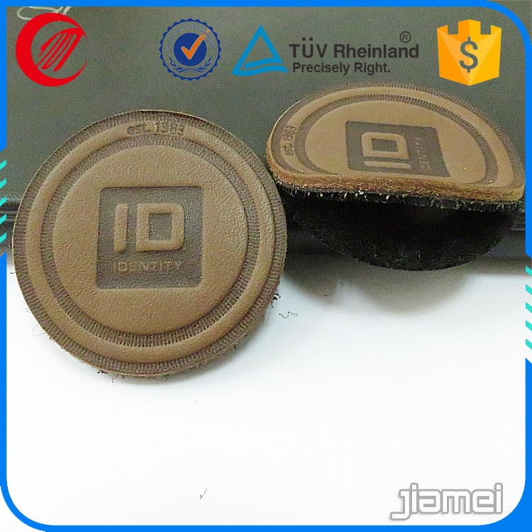 Custom backing self adhesive leather patch embossed logo