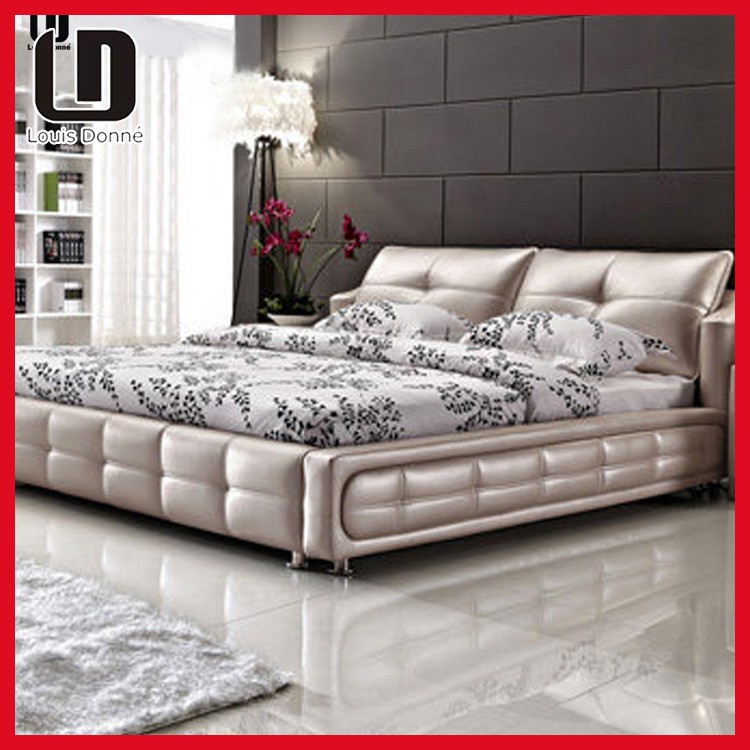 bedroom furniture made in china, Luxury double gold silver color bed