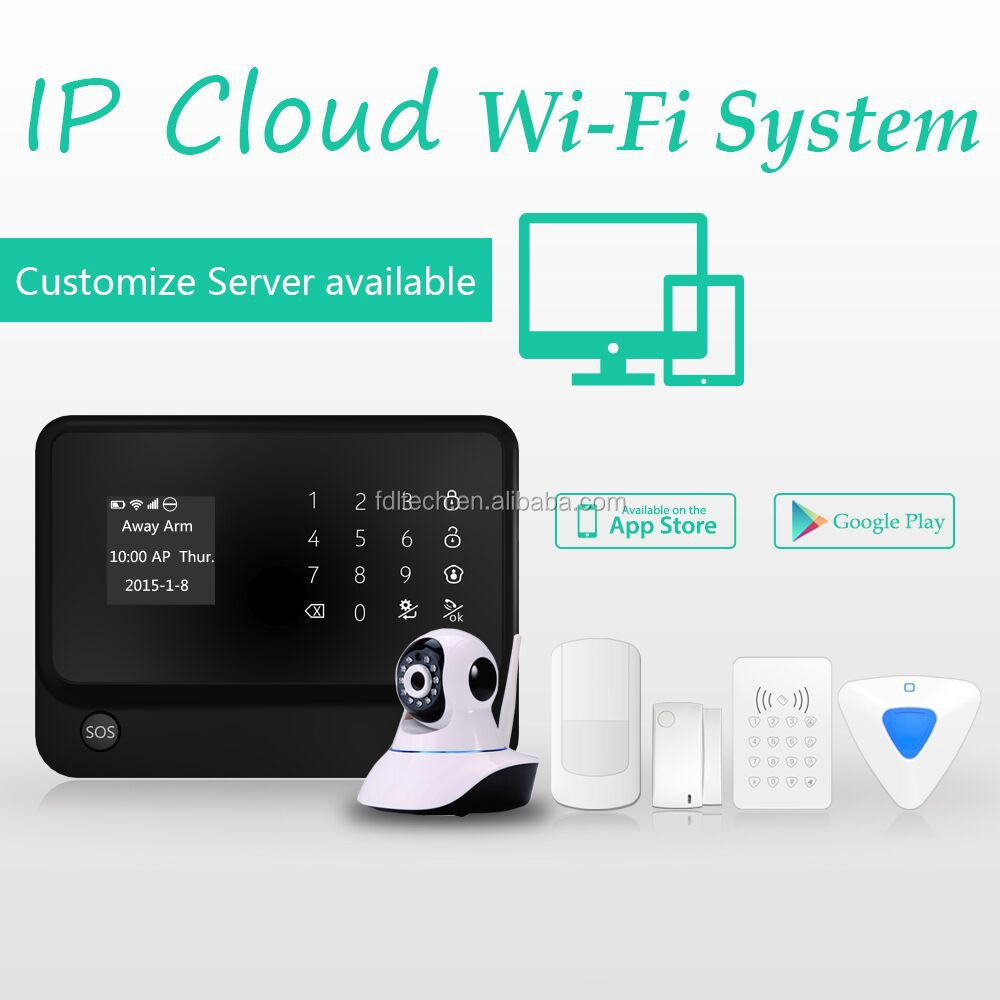 2015 New products! Word menu GSM+WIFI alarm system with IP camera ! WIFI home automation GSM alarm system with wireless relay