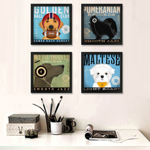 Art Canvas Painting American Style Dog Listen To Music Movement Animals Kids Room Decor No Frame Art Prints Poster Wall Pictures