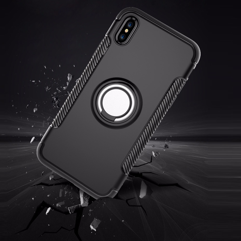 2018 New Product Rugged Luxury Ultra Slim Anti-slip <strong>Cell</strong> <strong>Phone</strong> Case for iPhone X with Magnetic Ring Stand Holder 360 Rotation
