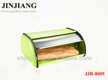 New Item Green spray paint Stainless Steel Bread Bin with siliver Lid