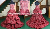 2012 hot sale beautiful ruffle &beading pleating corset bodice taffeta sweetheart neckline red wedding gown2013