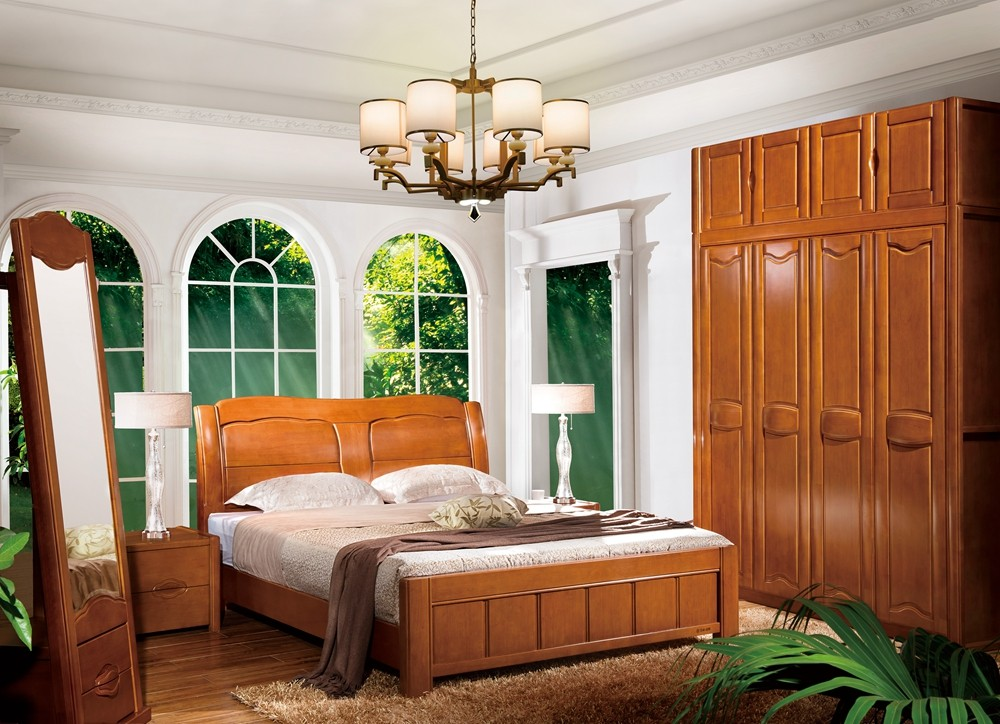 Hot sale modern solid wood home bedroom furniture set design 8105