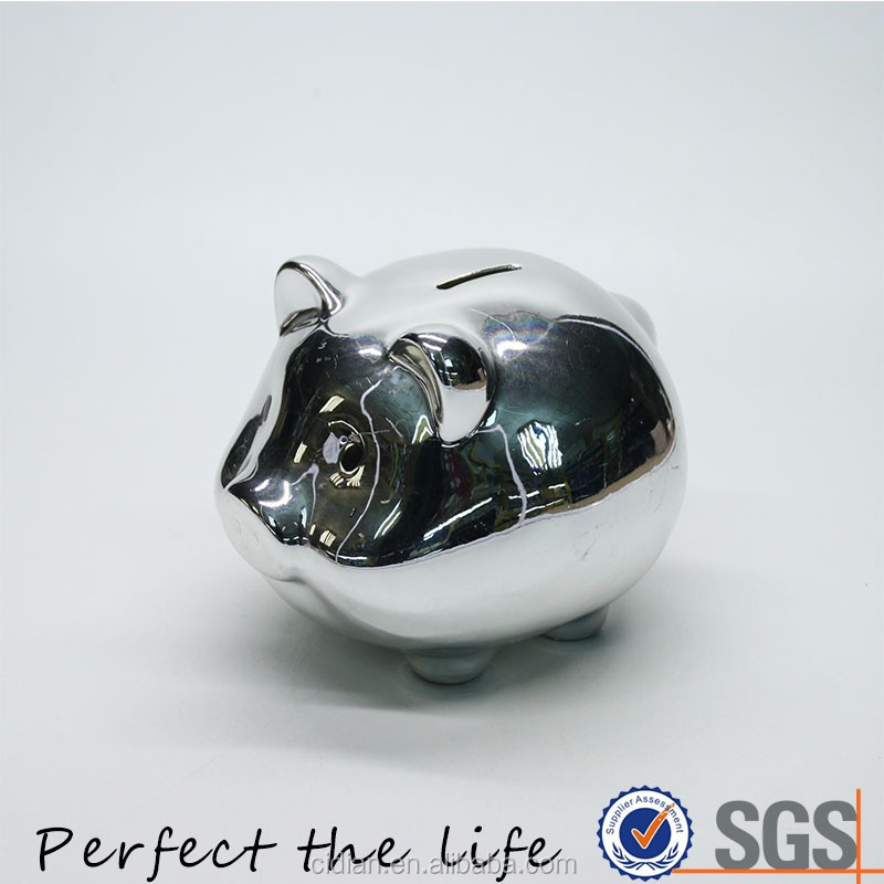 Elegant Wedding Birthday Gift Silver Ceramic Pig Piggy Bank Money Box with Plating Finish