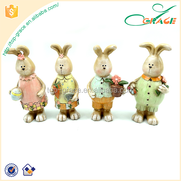 rabbit whimsical table piece polyresin Easter decoration