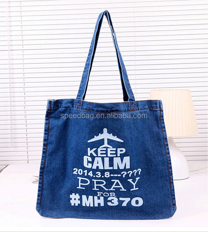 Denim Tote Bag Casual Solid Canvas Jean Large Capacity Top Handle Bag Zipper Soft Fabric One Shoulder Bags