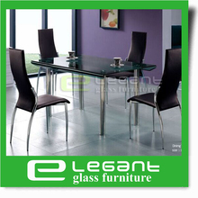 Long Curved Glass Dining Table on 4 Stainless Steel Legs