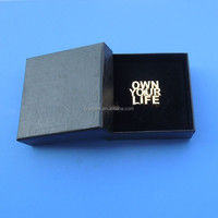 cut out letters shape metal collar pin packing with black gifts box