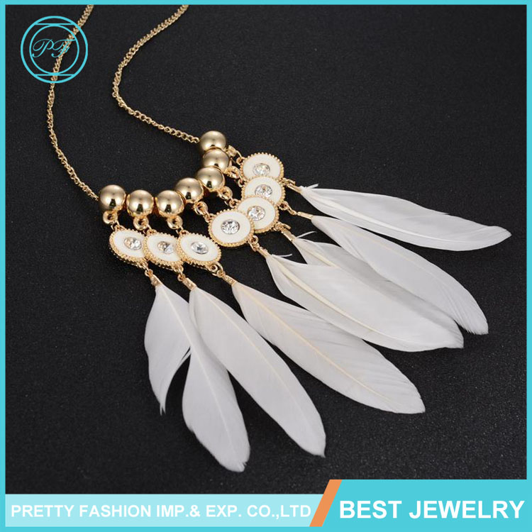 Statemet Feather Necklace Wholesale Gold Fashion Multilayer Feather Necklace Tassel, Luxury Imitation