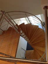 low cost modern spiral stairs design indoor / curved wood stairs