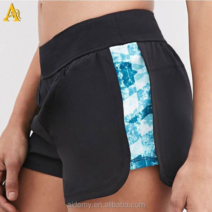 Polyester Spandex Fitness Gym Women Sweat Shorts With ...