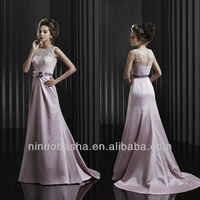 Light Purple Chapel Train A Line Zipper Bateau Sash Bow Applique Wedding Dress Bridesmaid Gown