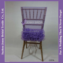 C257A crinkle organza purple chair head covers
