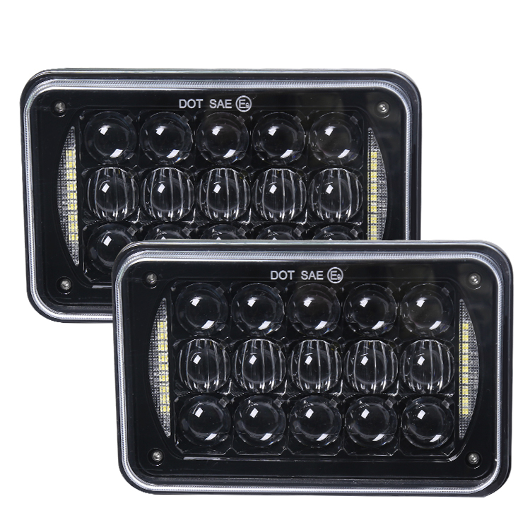 LOYO high quality 4x6 rectangular led headlamp 5&quot; 48 <strong>w</strong> square led work light in black and chrome