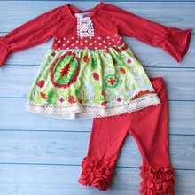 Hot kids clothing wholesale girls Christmas outfits latest children frocks designs for girls of 10 years old kid clothes
