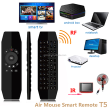 keyboard wireless T5 with RF Air Mouse Remote control IR Learning IR Copy Function for Android TV box rechageable remote control