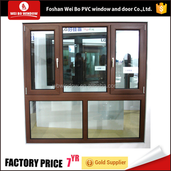 LG brand Hausys wooden color casement window combined with fixed window