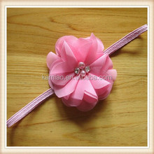 2015 latest pink chiffon infant rhinestone pearl hair accessory elastic flower headband
