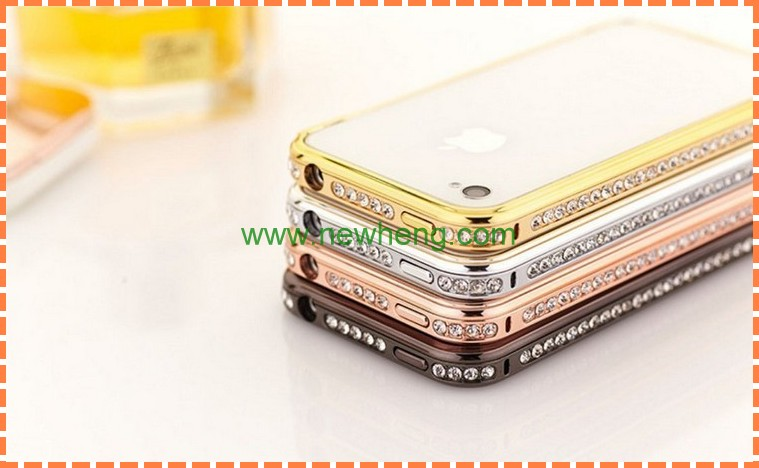 Bling diamond aluminum metal frame bumper hard protect case for iphone5