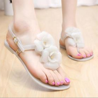 W72314G 2016 latest ladies flat sandals crystal flower pvc plastic jelly woman sandals new design