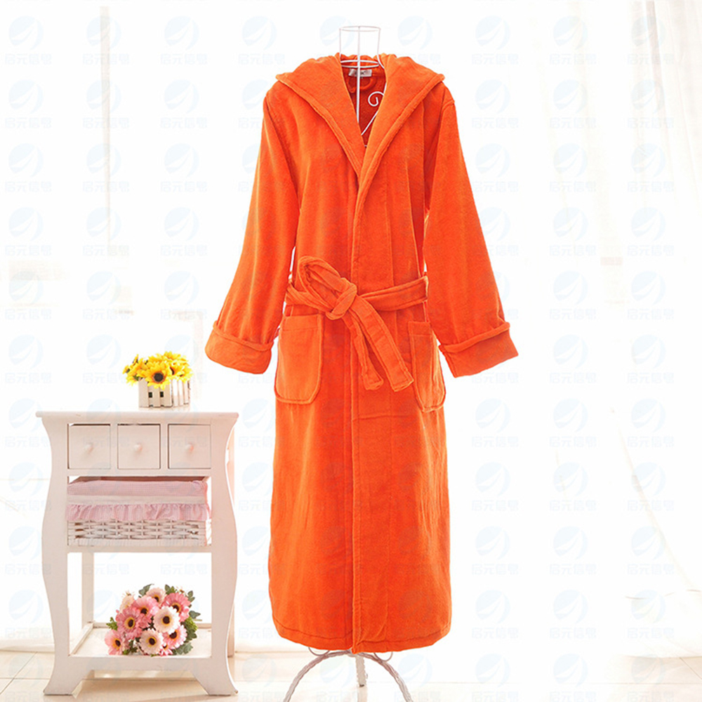 Solid Color Cotton Orange Bathrobe For Women