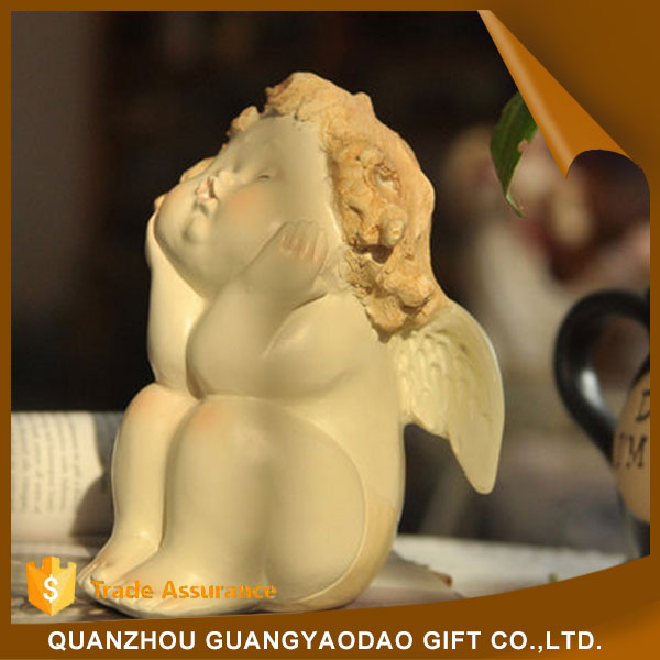 Wedding decoration sitting down sculpture baby with wings angel statue resin figurine