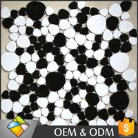 Black And White Color Wall Decor Pebble Ceramic Mosaic Tile