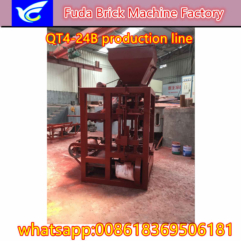 QT4-24B semi automatic block cement brick machine with high quality from China