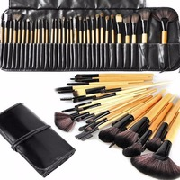 Natural Synthetic Bristle Wooden Handle Cosmetics Foundation professional 32 pcs Cosmetics Makeup brushes set with case
