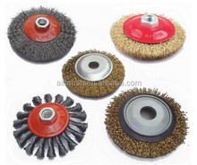 industrail round grinding brush / crimped bevel steel wire brush / twist knot circular wire brush