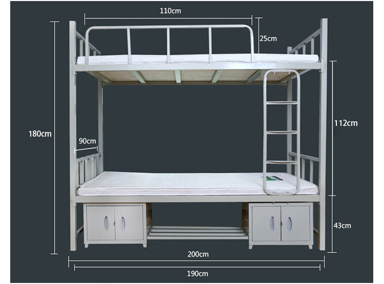 Adult living cheap design simple metal bunk bed with locker