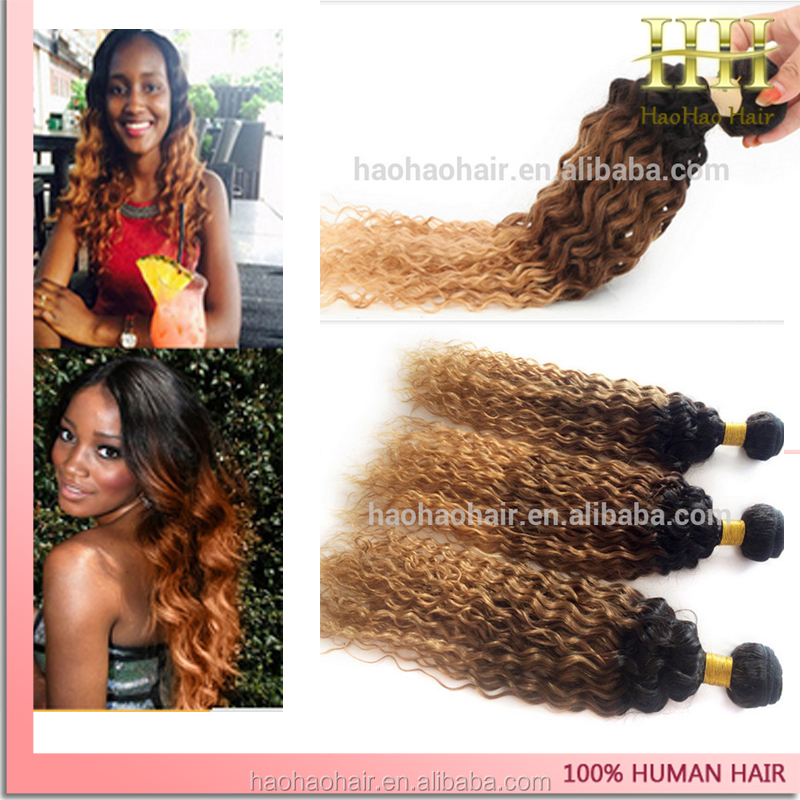 Wholesale best quality three tone color ombre virgin peruvian kinky curly hair in south africa