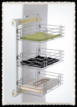 Side pull out three tier wire basket for wardrobe