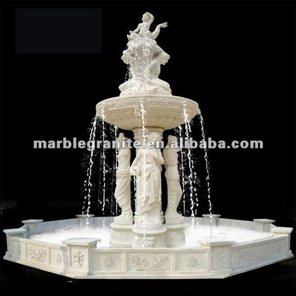 White Color Granite Stone Water Fountains For Garden Decoration