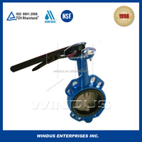 China OEM hand lever operated wafer type stainless steel butterfly valve