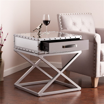 Upton Home Carollton Industrial Mirrored Side End Table
