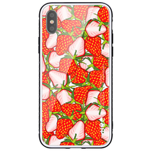 UEE Wholesale Fruits Design Pattern Clear Glass Phone Case for iPhone X