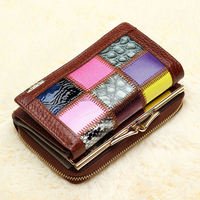 25002 2016 new Leather tri-fold short genuine leather high-grade buckle frame women's fashion wallet