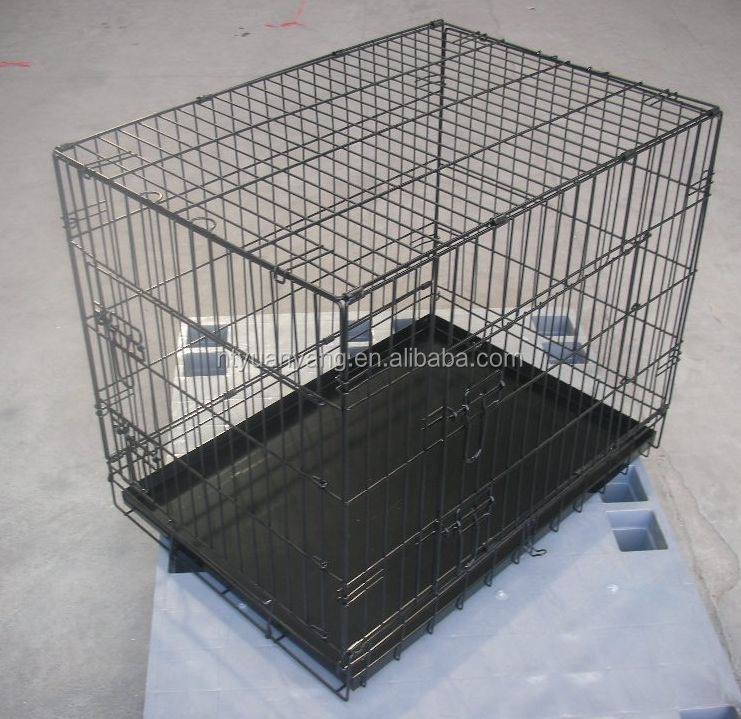 double doors folding strong wire steel bar dog kennel