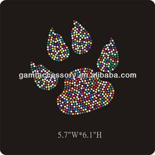 Multicolored rhinestone iron on paw print transfer for t shirt