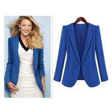 Western wind 2017 short model plain dyed blue and black color women OL blazer female jacket