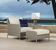 Grey home used terrace lounge chair and footrest set outdoor rattan furniture sale cebu city