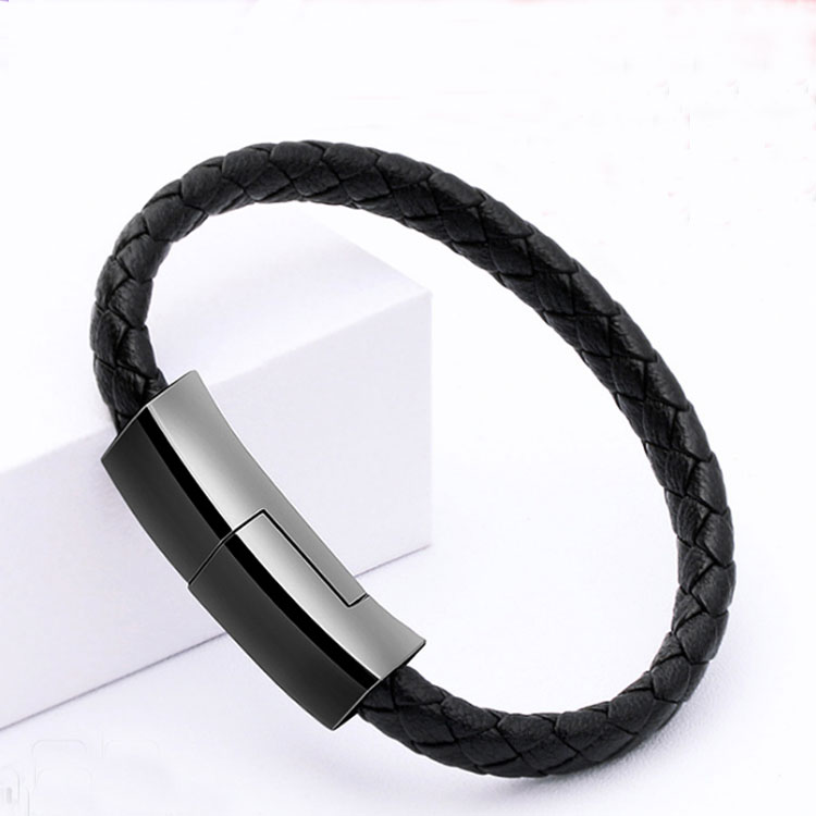 Custom logo available USB PU Leather charger cable bracelet for Smart Phones